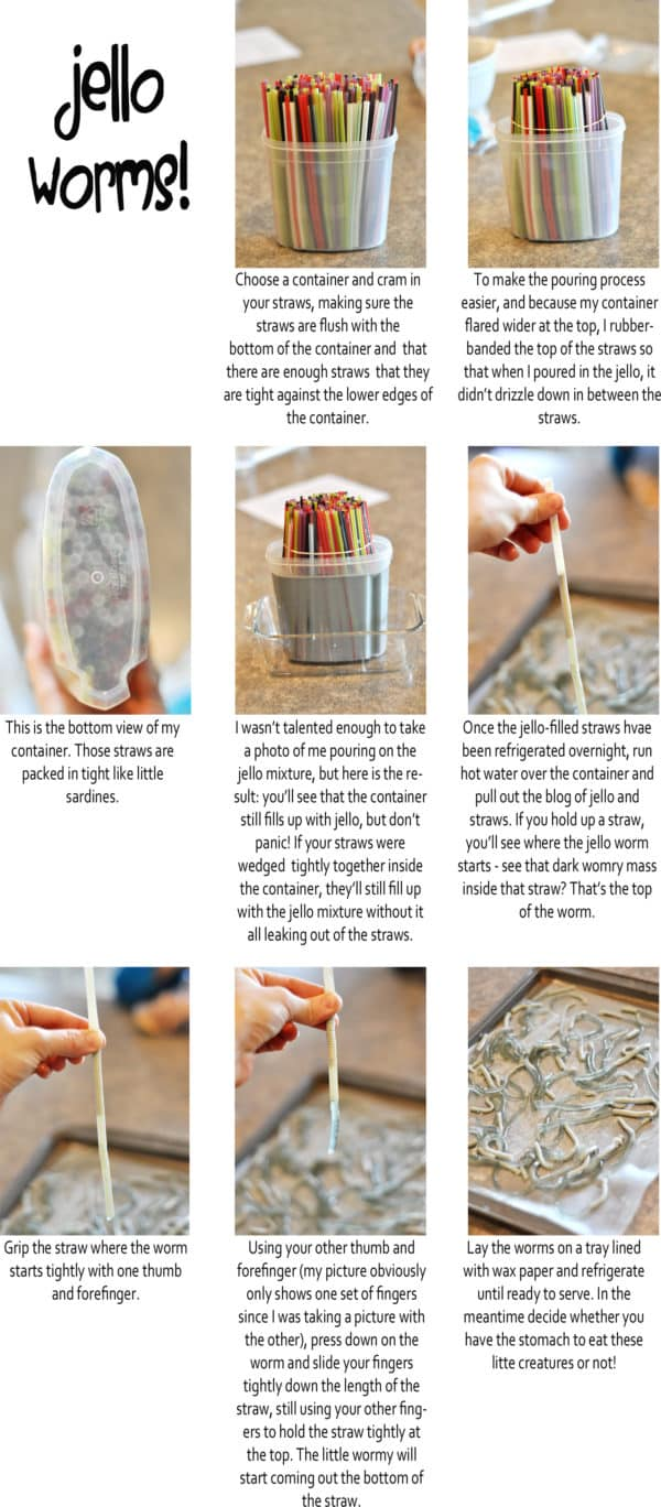 a step-by-step tutorial with pictures and text of how to make Jello worms