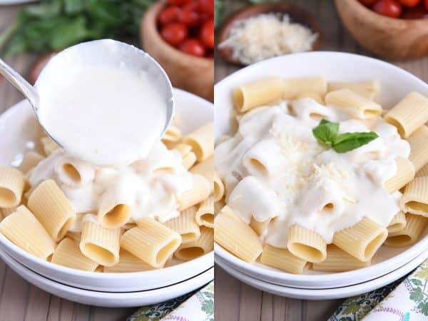 pouring homemade alfredo sauce recipe over cooked rigatoni