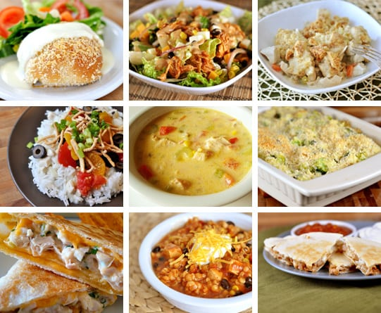 collage of 9 pictures that show recipes using turkey