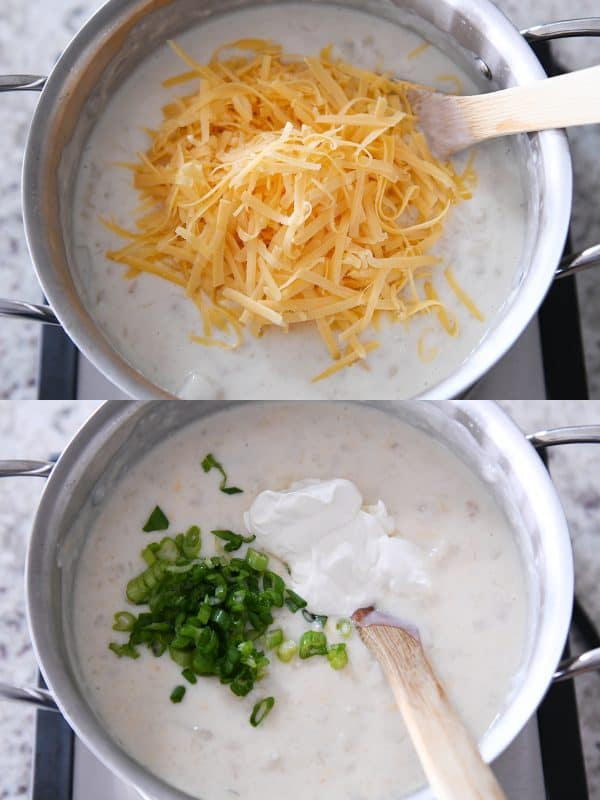 adding shredded cheddar cheese, green onions and sour cream to loaded baked potato soup