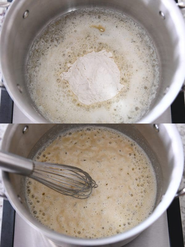 melting butter and adding flour for roux