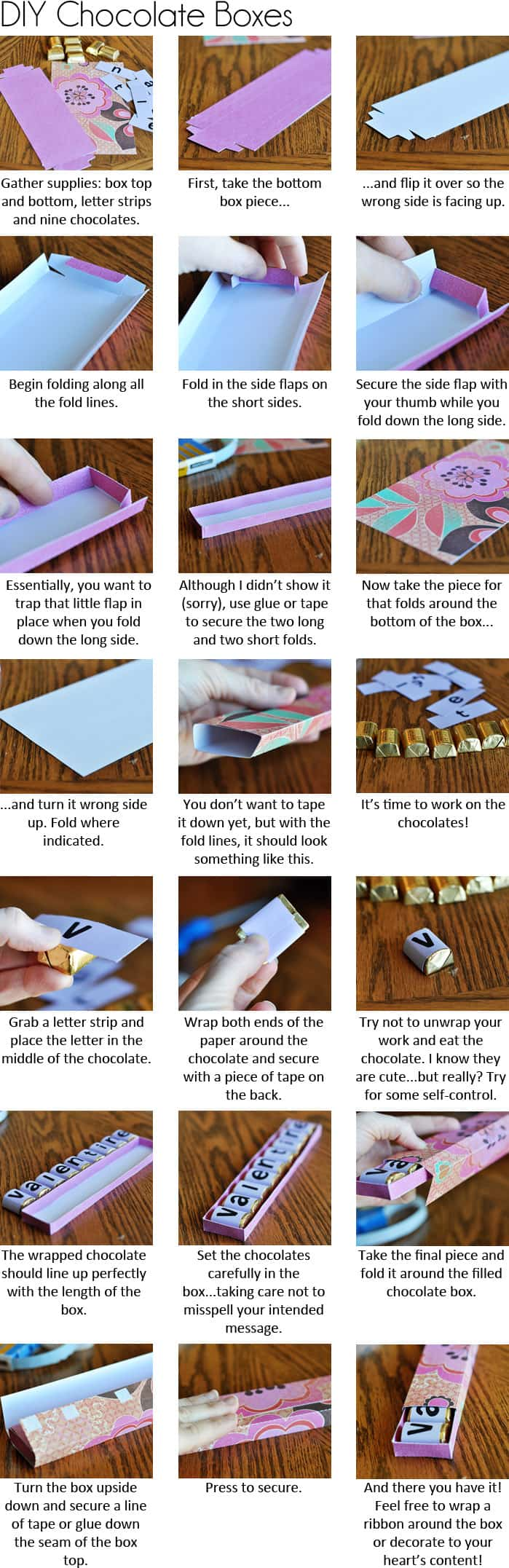 picture collage with step-by-step instructions on how to make a homemade Valentine's Day chocolate box