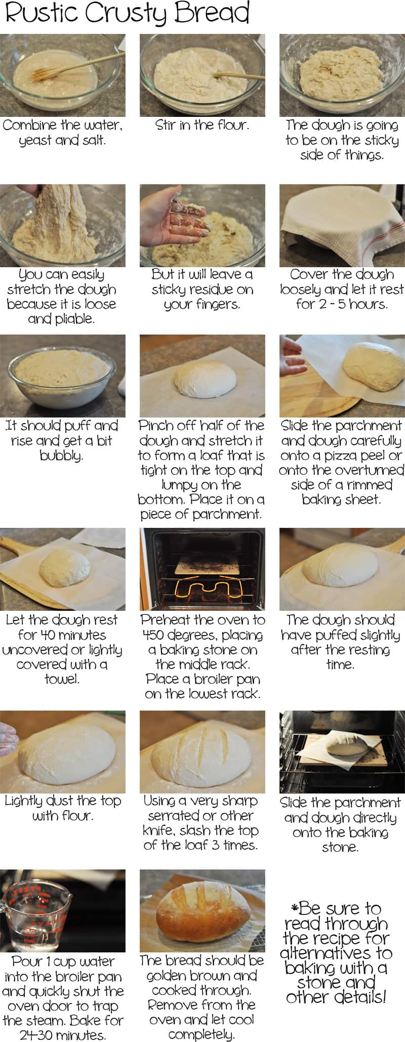 A how-to rustic bread tutorial with pictures and text for step-by-step instructions.