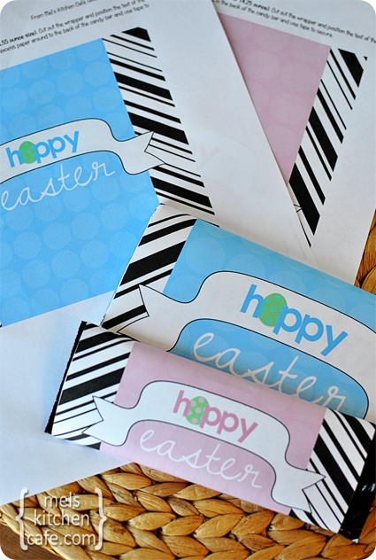 pink and blue hoppy Easter candy bar printable labels