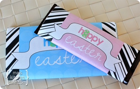 pink and blue Hoppy Easter printables wrapped around two candy bars