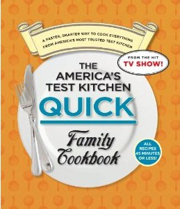 picture of the front of America's Test Kitchen Quick Family Cookbook