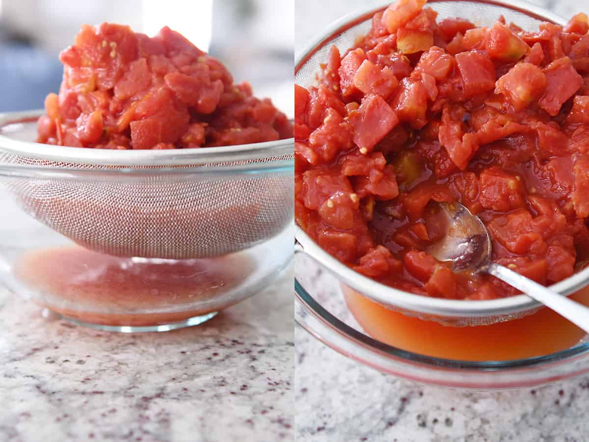 straining diced tomatoes in fine mesh strainer