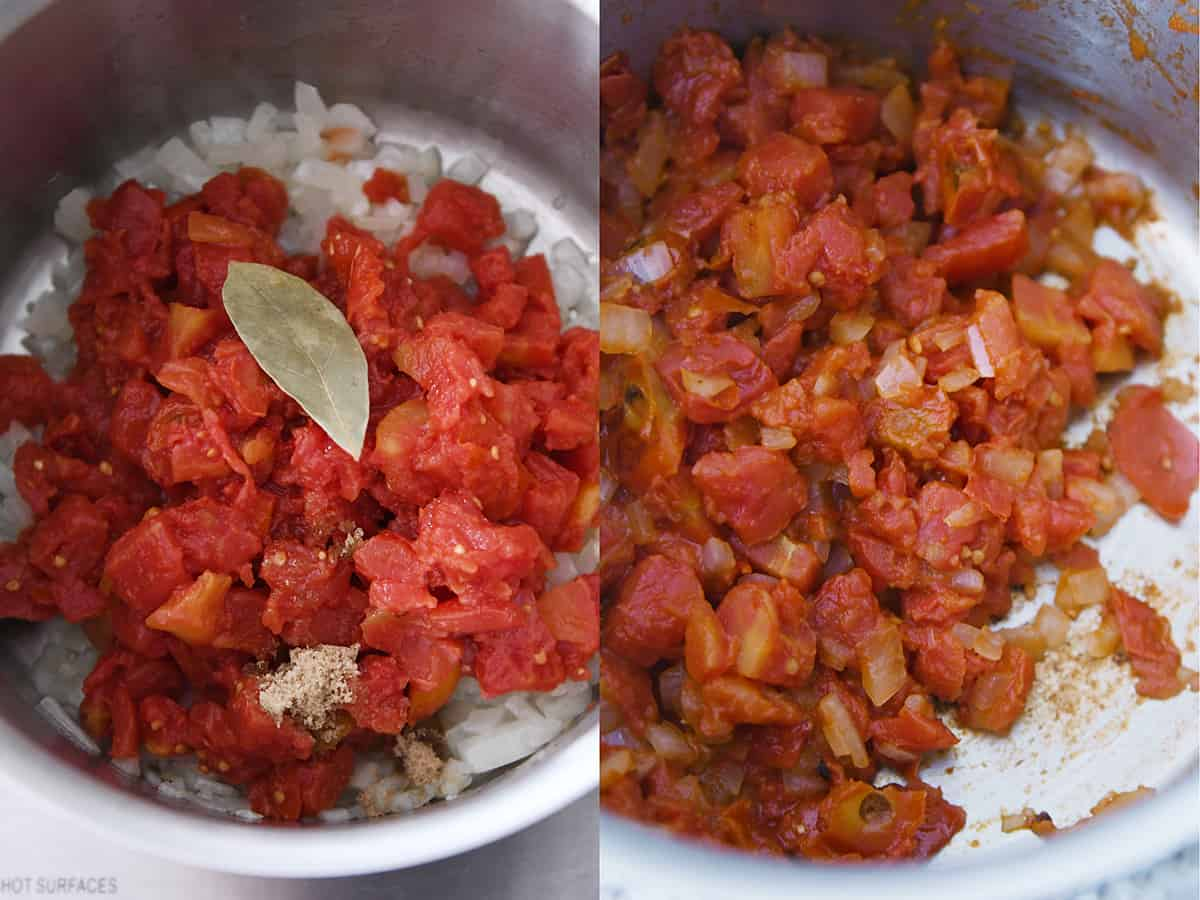 cooking tomatoes and onions in pot for tomato soup
