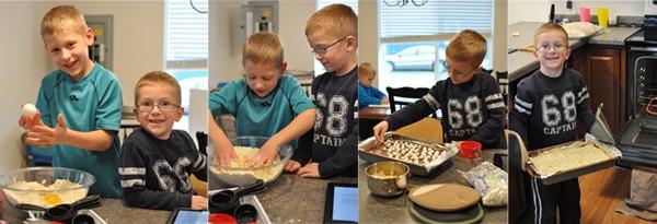two little boys helping bake