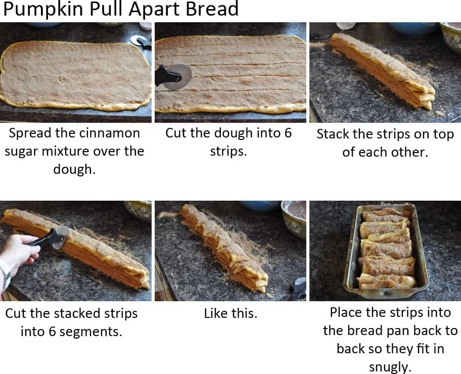 collage of pictures showing how to make pumpkin pull apart bread