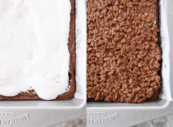side by side pans of brownies with marshmallow cream and rice krispie topping