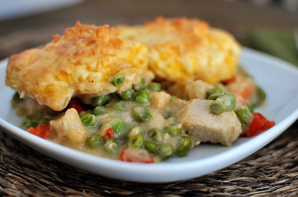 Confetti Chicken Bake with Cheddar Biscuit Topping