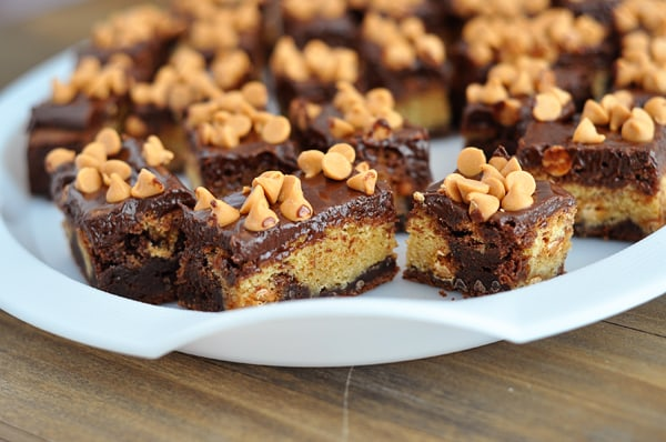 Butterscotch Brownie Bars with Chocolate Satin Frosting