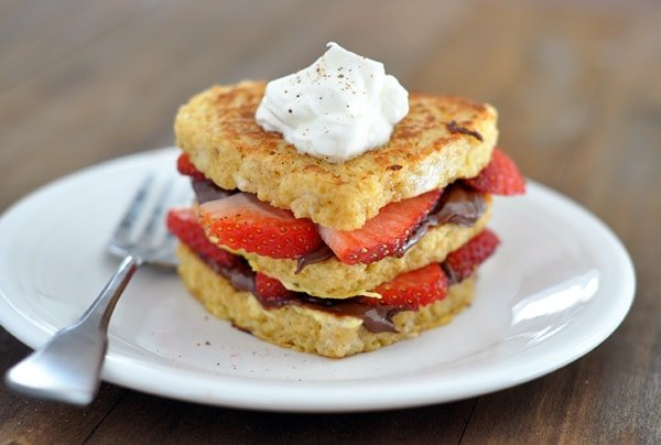 side view of a chocolate and strawberry stuffed french toast