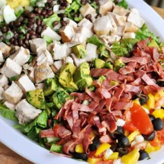 chopped cobb salad on a white platter