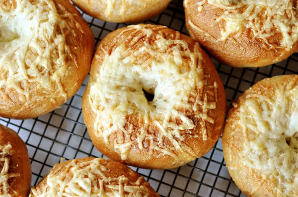 top down view of cheese-topped bagels on a cooling rack