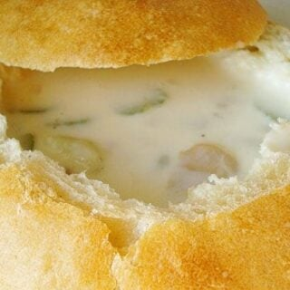bread bowl filled with clam chowder