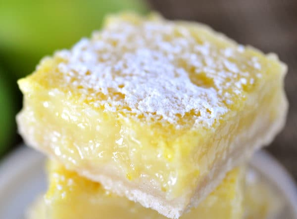top view of a powdered sugar dusted lime shortbread bar