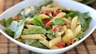 Smoked Mozzarella and Penne Spinach Salad