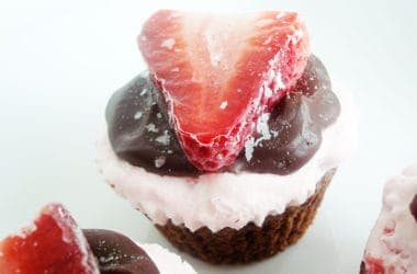 Strawberry Ice Cream Brownie Cupcakes