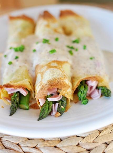 Ham Asparagus Crepes