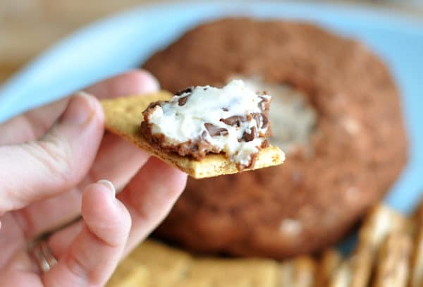 cocoa dusted cheeseball with a bite taken out on a graham cracker