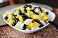 Honeydew Salad with Blueberries and Mangoes