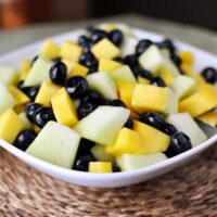 Honeydew, Blueberry and Mango Salad with Lime-Ginger Reduction