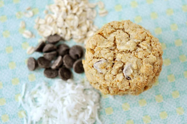 top down view of a stack of cookies next to piles of shredded coconut, chocolate chips, and sliced almonds