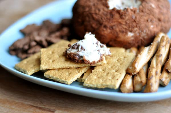 blue plate with a cocoa dusted cheeseball and graham crackers and pretzel sticks around the side