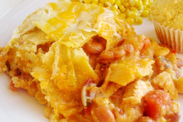 white plate with chicken tortilla casserole