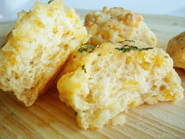 split open cheddar herb biscuit
