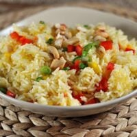 Orange Cashew Rice {With Baked Tilapia}