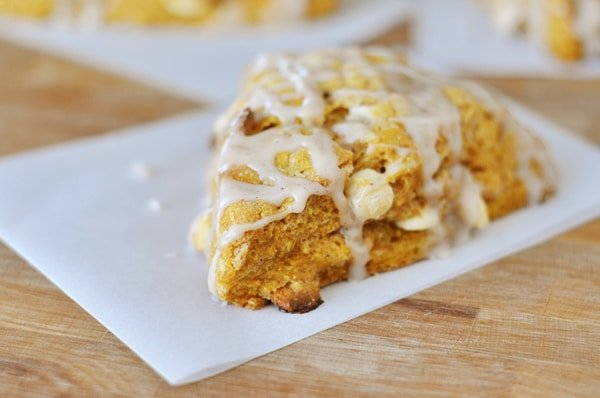 Pumpkin Scones with Ginger Glaze