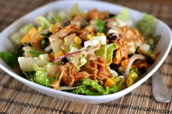 BBQ Chicken Salad with Creamy BBQ Cilantro Lime Dressing