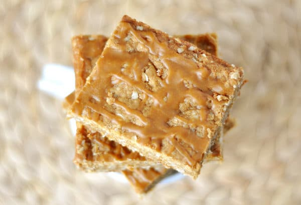butterscotch bars stacked on top of each other