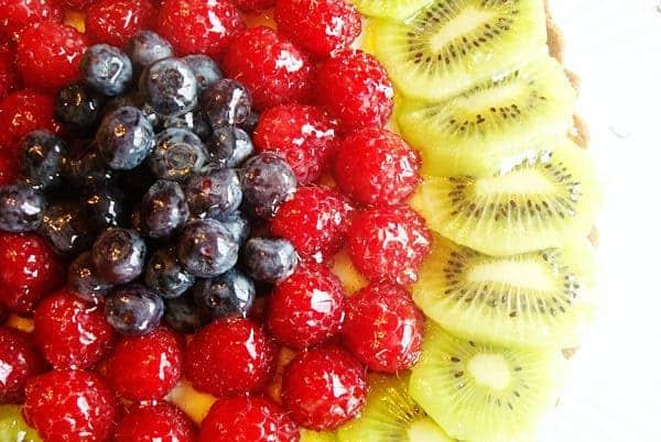 blueberries, raspberries, and kiwi slices on a tart