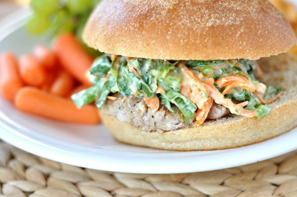 Perfect Turkey Burgers with Romaine and Carrot Slaw