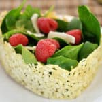 Asiago Crisped Spinach and Raspberry Salad