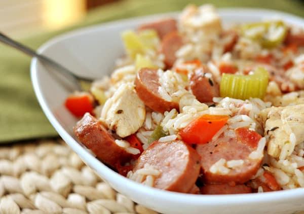 white dish full of chicken sausage jambalaya
