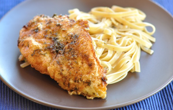 Breaded Garlic Chicken in Lemon-Butter Sauce
