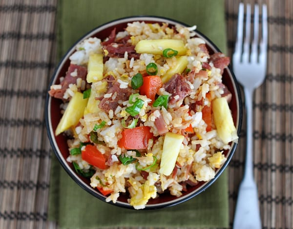 top view of a bowl of Hawaiian fried rice