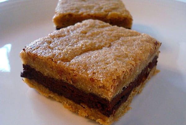 Dark Chocolate Ganache Filled Brown Sugar Bars