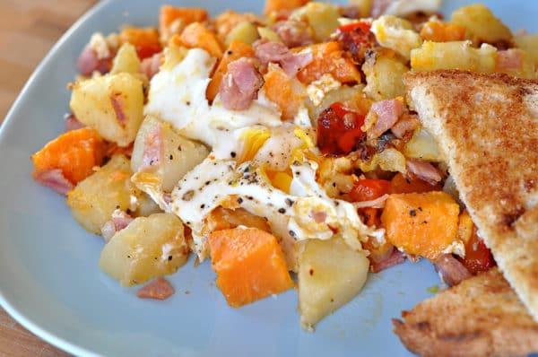 egg and potato hash on a plate