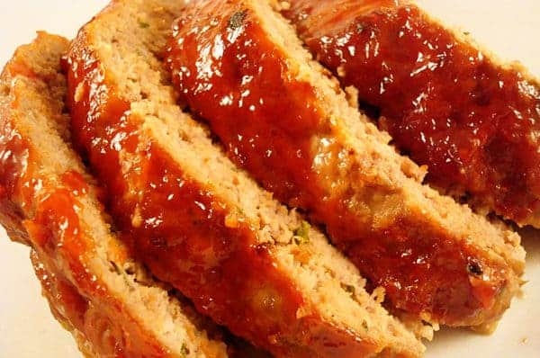top view of flour thick slices of meatloaf