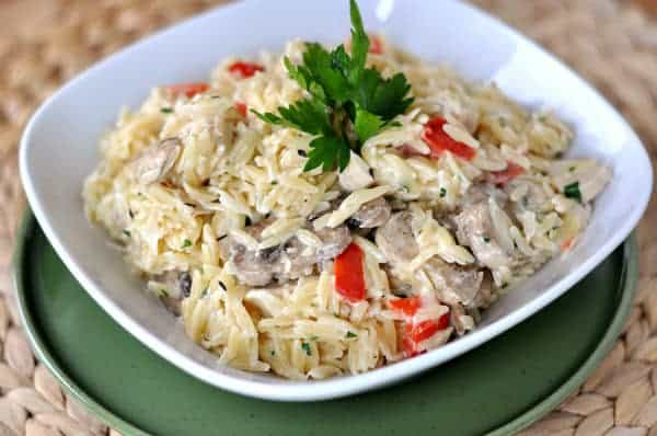 creamy orzo with mushrooms and peppers in a white bowl