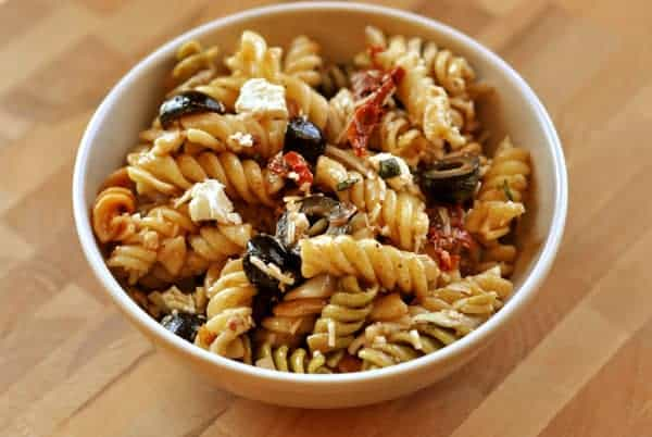 white bowl filled with pasta salad