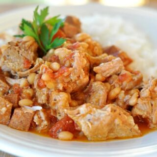 Country-Style Pork and White Beans {Slow Cooker}