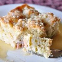 Rhubarb Streusel Cake with Warm Vanilla Sauce