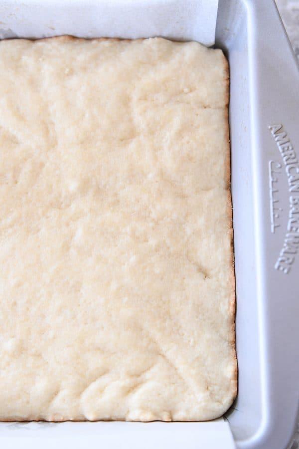 pan of baked sugar cookie bars